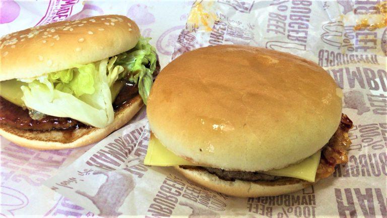 マックのてりやきとハンバーガーにガーリックチリとチェダーチーズをトッピングしてみた